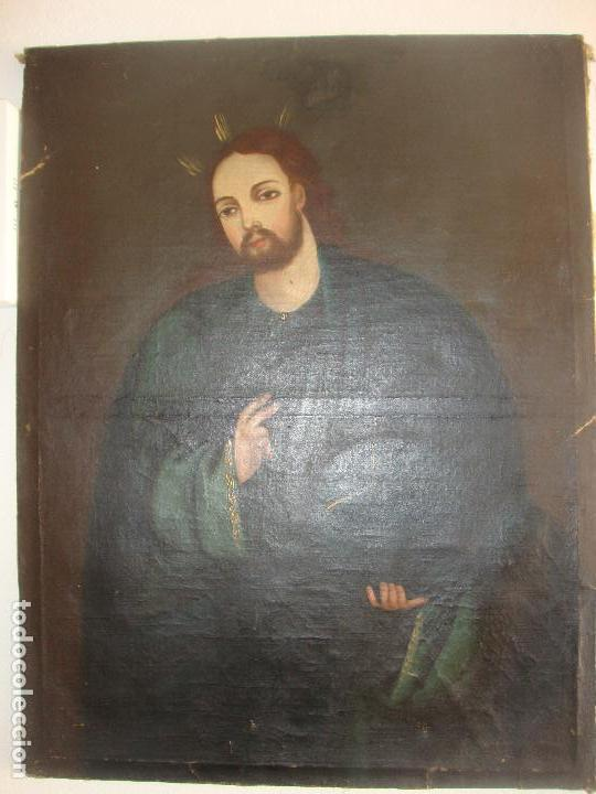 OLEO SOBRE LIENZO DE JESUS SIGLO XIX (Arte - Arte Religioso - Pintura Religiosa - Oleo)