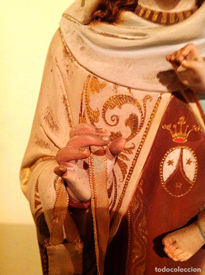 Arte: Antigua Figura Religiosa Virgen del Carmen con niño Jesús Talla Medidas 55cm x 15cm - Foto 5 - 51795679