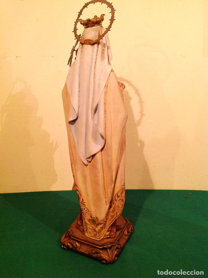 Arte: Antigua Figura Religiosa Virgen del Carmen con niño Jesús Talla Medidas 55cm x 15cm - Foto 6 - 51795679