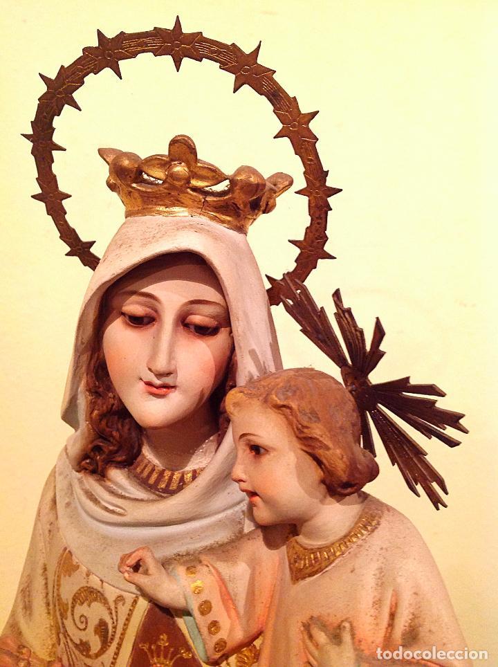 Arte: Antigua Figura Religiosa Virgen del Carmen con niño Jesús Talla Medidas 55cm x 15cm - Foto 7 - 51795679