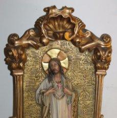 Arte: PLAFÓN RELIGIOSO EN ESTUCO POLICROMADO - SAGRADO CORAZÓN - MODERNISTA - AÑOS 20. Lote 64806559