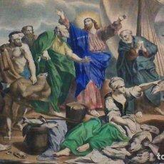 Arte: LITOGRAFIA DE TURGIS. 43,5 X 52 CM. LA PESCA MILAGROSA. S. XIX. Lote 64977247