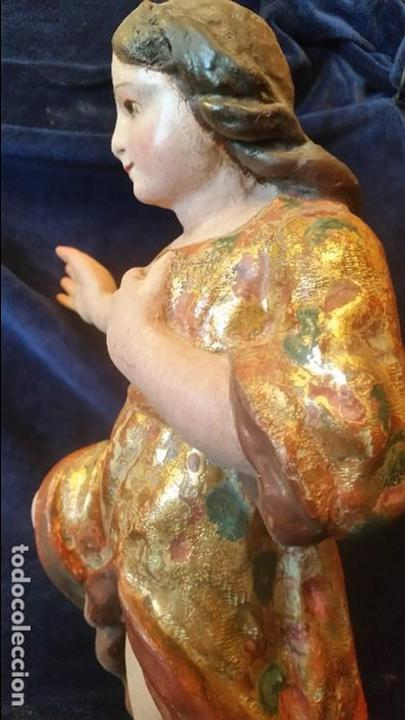 Arte: ANGEL TALLA MADERA POLICROMADA S.XVII - Foto 9 - 64983503