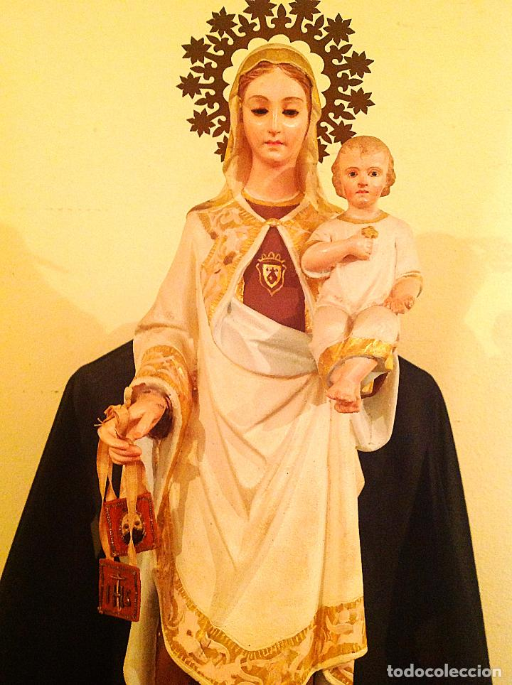 Arte: Antigua Virgen Del Carmen Con Niño XIX Altura 50cm - Foto 4 - 65666646