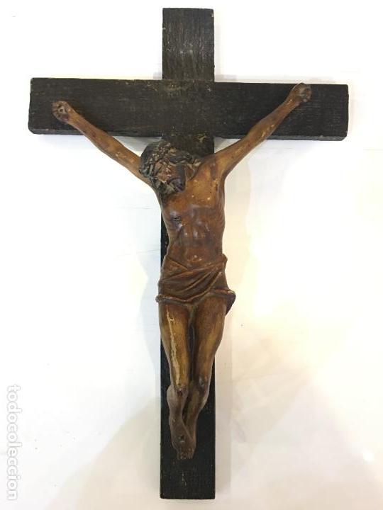 Arte: CRISTO REALIZADO EN TERRACOTA POLICROMADA. MUY BONITOS DETALLES, FINALES DEL XIX - Foto 11 - 65681350