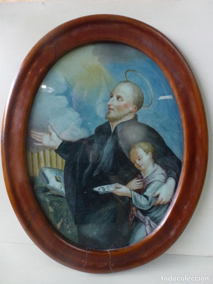 SAN ANTONIO, ANTIGUA PINTURA SOBRE CRISTAL (Arte - Arte Religioso - Pintura Religiosa - Otros)