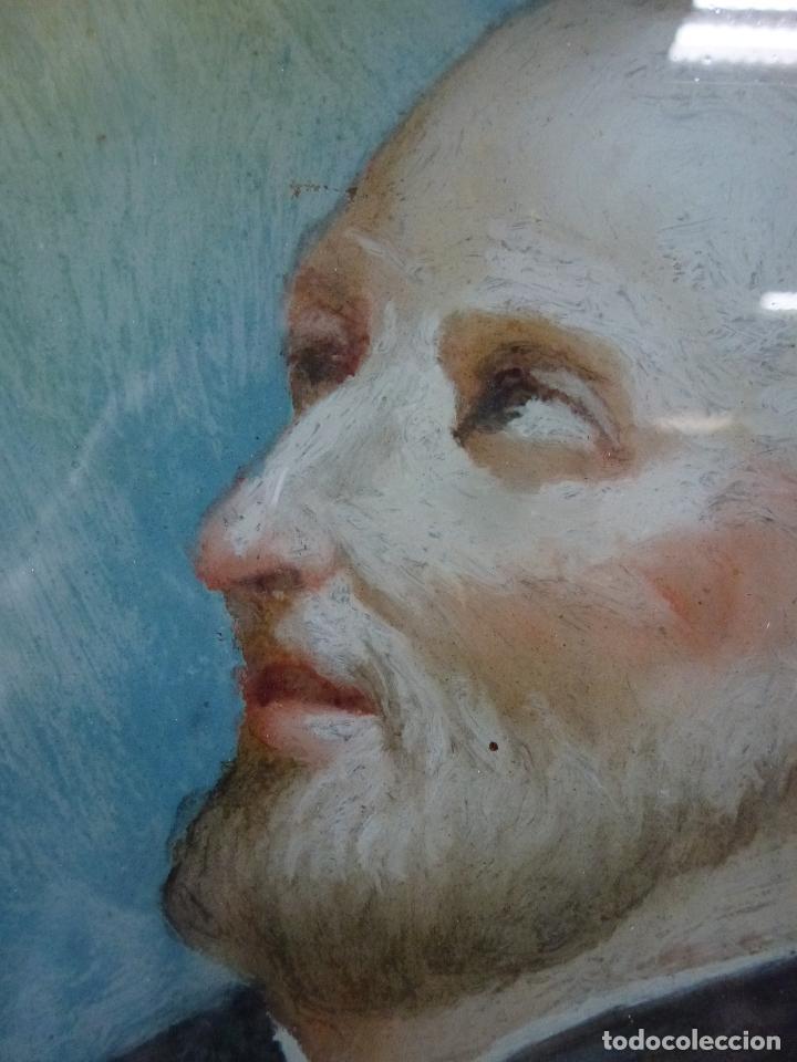 Arte: San Antonio, Antigua pintura sobre cristal - Foto 3 - 112222518