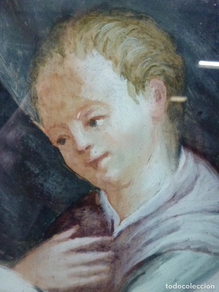 Arte: San Antonio, Antigua pintura sobre cristal - Foto 7 - 112222518