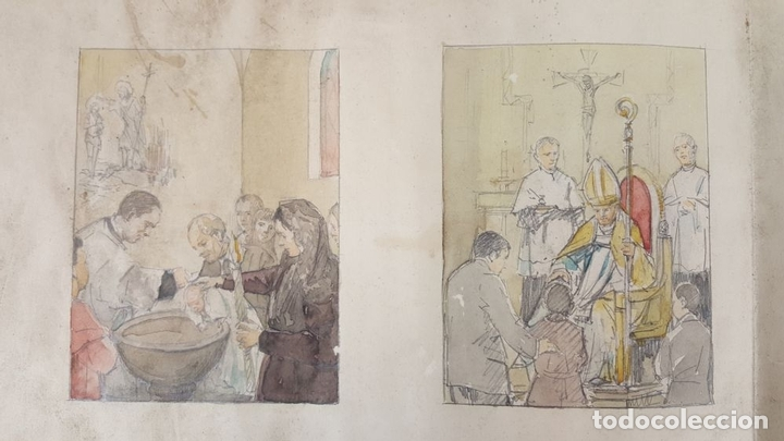 Arte: DI-162. LOS SACRAMENTOS. DIBUJO AL CARBÓN Y ACUARELA. ANÓNIMO. CIRCA 1940. - Foto 3 - 66538254