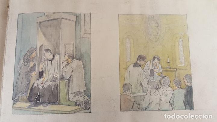 Arte: DI-162. LOS SACRAMENTOS. DIBUJO AL CARBÓN Y ACUARELA. ANÓNIMO. CIRCA 1940. - Foto 4 - 66538254