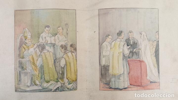 Arte: DI-162. LOS SACRAMENTOS. DIBUJO AL CARBÓN Y ACUARELA. ANÓNIMO. CIRCA 1940. - Foto 5 - 66538254