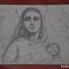 Arte: DIBUJO BOCETO ORIGINAL DE TEMA RELIGIOSO , MALAGA O SEVILLA DE 1960 APROX , SEMANA SANTA VIRGEN. Lote 66731590