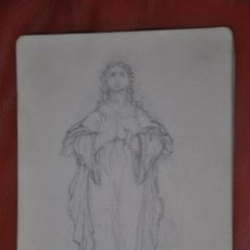 Arte: DIBUJO BOCETO ORIGINAL DE TEMA RELIGIOSO , MALAGA O SEVILLA DE 1960 APROX , SEMANA SANTA VIRGEN. Lote 66733538