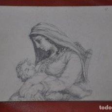 Arte: DIBUJO BOCETO ORIGINAL DE TEMA RELIGIOSO , MALAGA O SEVILLA DE 1960 APROX , SEMANA SANTA VIRGEN. Lote 66736790