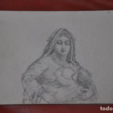 Arte: DIBUJO BOCETO ORIGINAL DE TEMA RELIGIOSO , MALAGA O SEVILLA DE 1960 APROX , SEMANA SANTA VIRGEN. Lote 66737150