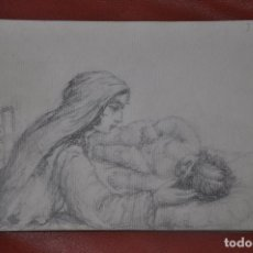 Arte: DIBUJO BOCETO ORIGINAL DE TEMA RELIGIOSO , MALAGA O SEVILLA DE 1960 APROX , SEMANA SANTA VIRGEN. Lote 66738694
