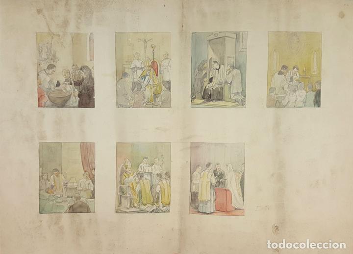 DI-162. LOS SACRAMENTOS. DIBUJO AL CARBÓN Y ACUARELA. ANÓNIMO. CIRCA 1940. (Arte - Arte Religioso - Pintura Religiosa - Acuarela)