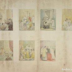 Arte: DI-162. LOS SACRAMENTOS. DIBUJO AL CARBÓN Y ACUARELA. ANÓNIMO. CIRCA 1940.. Lote 66538254
