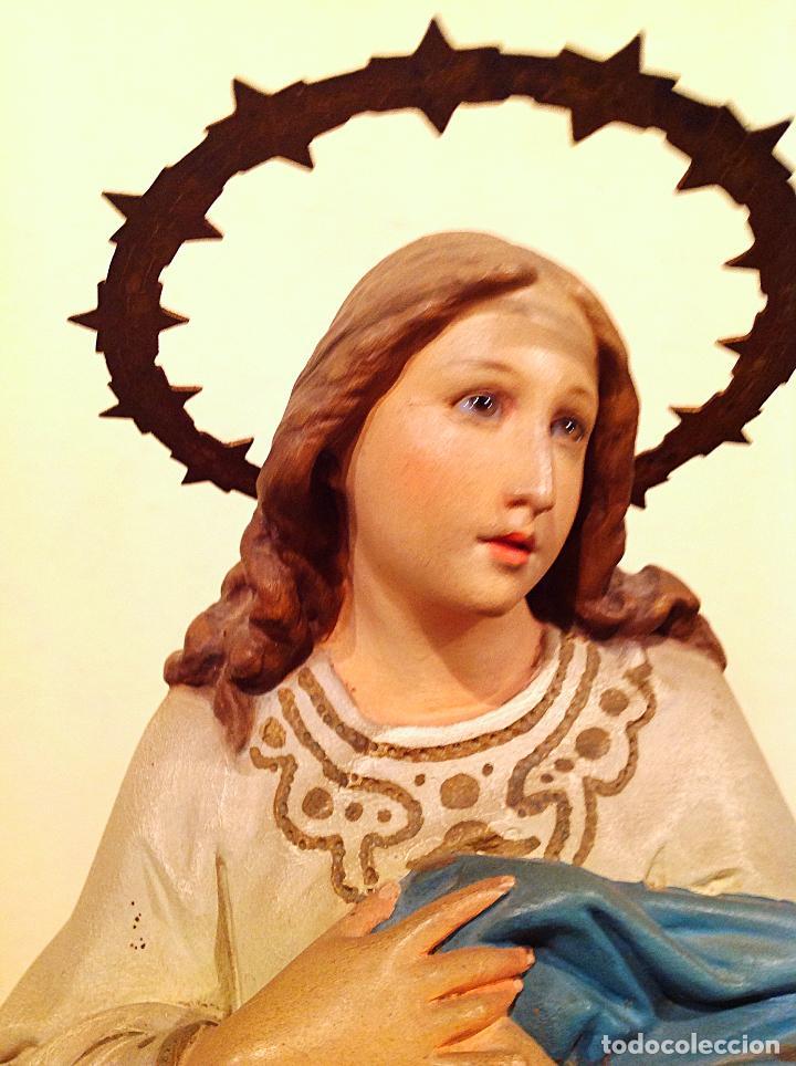 Arte: Figura Antigua Escultura Religiosa Virgen Purísima Concepción Medidas 58x20 - Foto 6 - 143126537