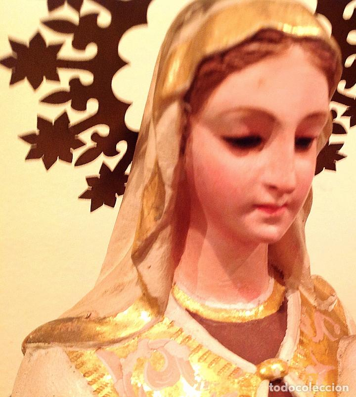 Arte: Antigua Virgen Del Carmen Con Niño XIX Altura 50cm - Foto 8 - 65666646