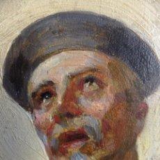 Arte: CUADRO AL OLEO SOBRE TABLA CON SANTO JESUITA MARTIR FIRMADO 1861 .MARCO DORADO CON DIENTES DE SIERRA. Lote 66887046