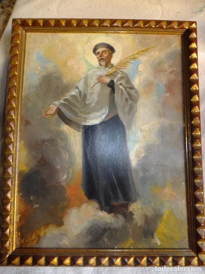 Arte: Cuadro al oleo sobre tabla con Santo Jesuita martir firmado 1861 .Marco dorado con dientes de sierra - Foto 2 - 66887046