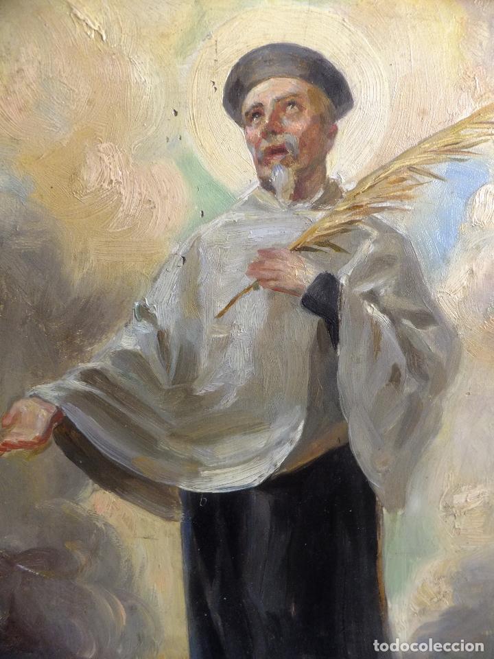 Arte: Cuadro al oleo sobre tabla con Santo Jesuita martir firmado 1861 .Marco dorado con dientes de sierra - Foto 3 - 66887046