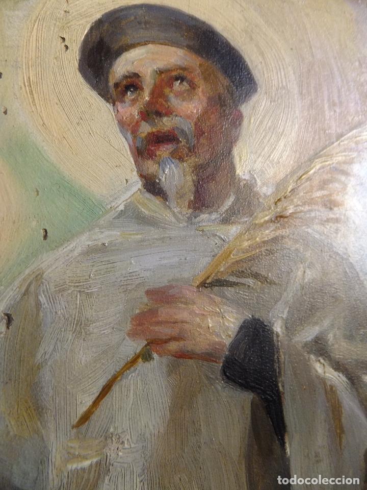 Arte: Cuadro al oleo sobre tabla con Santo Jesuita martir firmado 1861 .Marco dorado con dientes de sierra - Foto 4 - 66887046