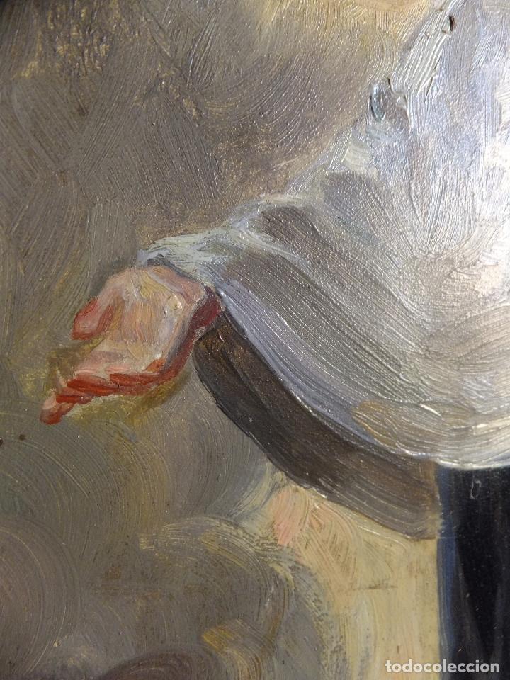 Arte: Cuadro al oleo sobre tabla con Santo Jesuita martir firmado 1861 .Marco dorado con dientes de sierra - Foto 5 - 66887046