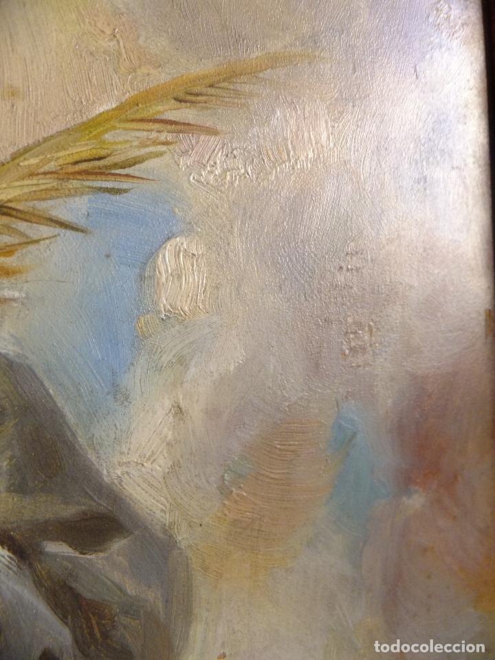 Arte: Cuadro al oleo sobre tabla con Santo Jesuita martir firmado 1861 .Marco dorado con dientes de sierra - Foto 6 - 66887046