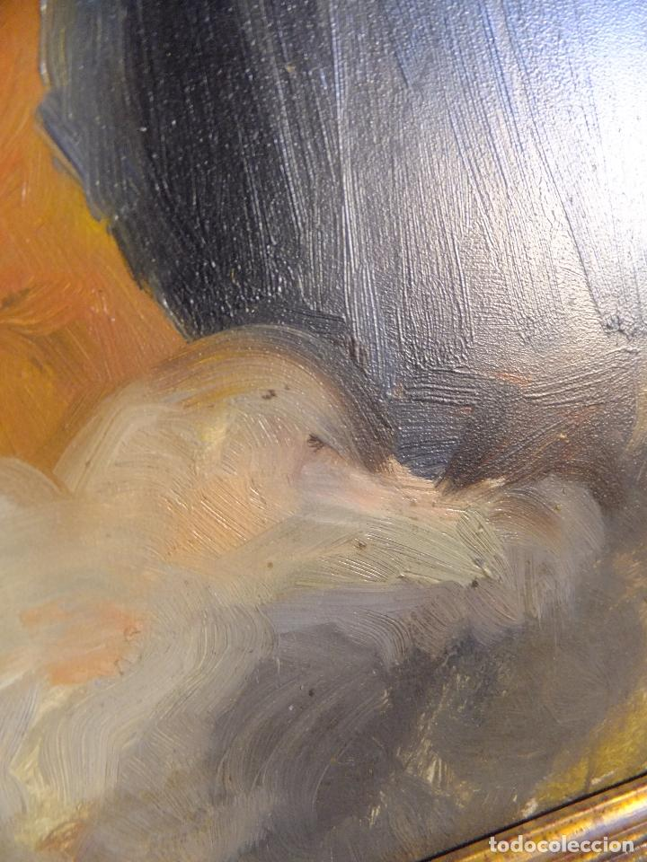Arte: Cuadro al oleo sobre tabla con Santo Jesuita martir firmado 1861 .Marco dorado con dientes de sierra - Foto 7 - 66887046