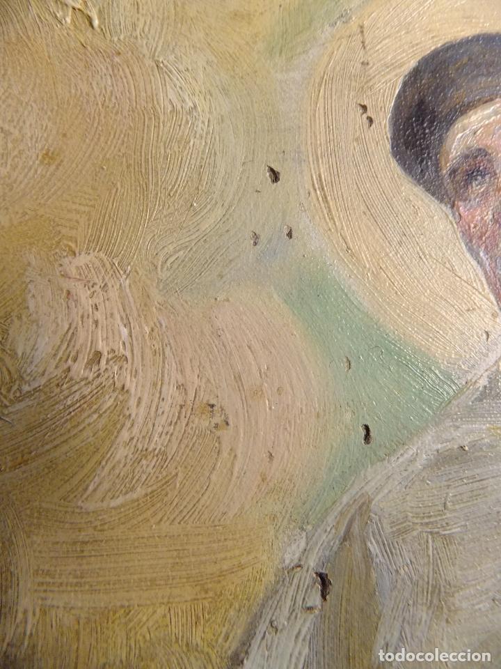 Arte: Cuadro al oleo sobre tabla con Santo Jesuita martir firmado 1861 .Marco dorado con dientes de sierra - Foto 8 - 66887046