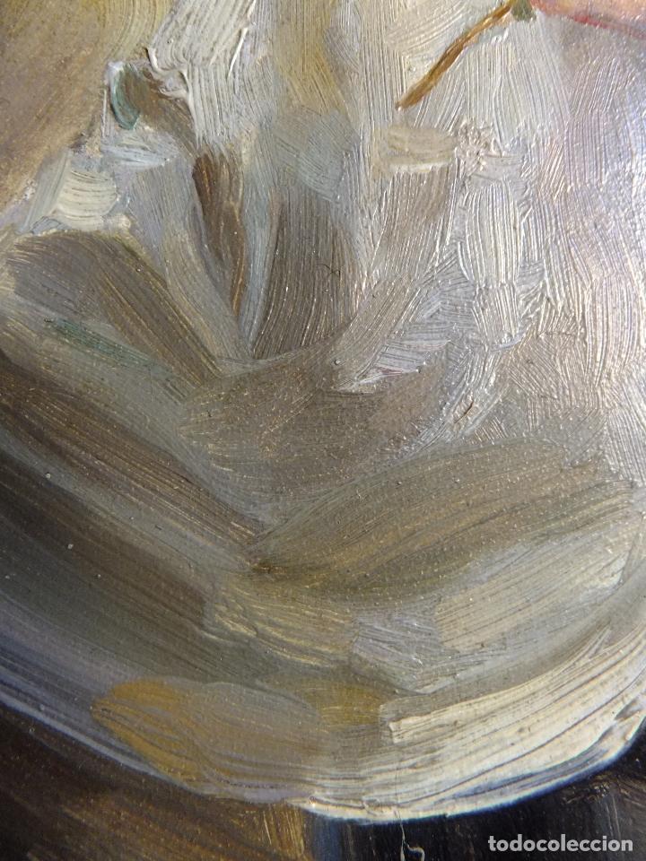 Arte: Cuadro al oleo sobre tabla con Santo Jesuita martir firmado 1861 .Marco dorado con dientes de sierra - Foto 9 - 66887046