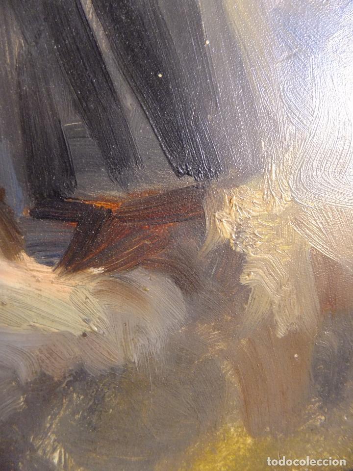 Arte: Cuadro al oleo sobre tabla con Santo Jesuita martir firmado 1861 .Marco dorado con dientes de sierra - Foto 10 - 66887046