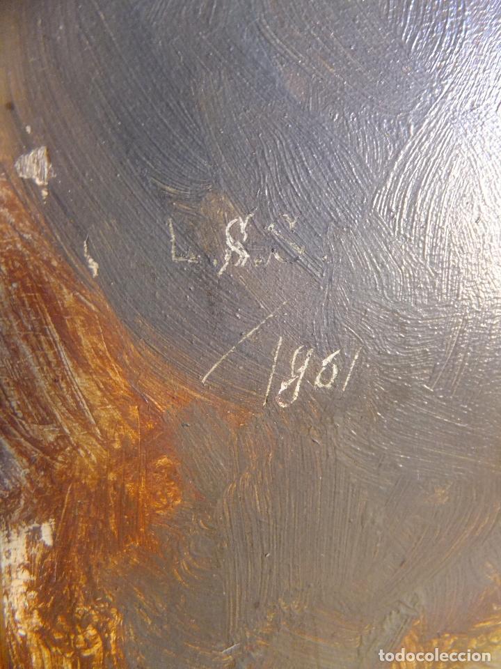 Arte: Cuadro al oleo sobre tabla con Santo Jesuita martir firmado 1861 .Marco dorado con dientes de sierra - Foto 11 - 66887046