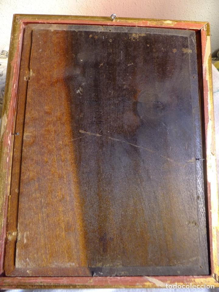 Arte: Cuadro al oleo sobre tabla con Santo Jesuita martir firmado 1861 .Marco dorado con dientes de sierra - Foto 13 - 66887046