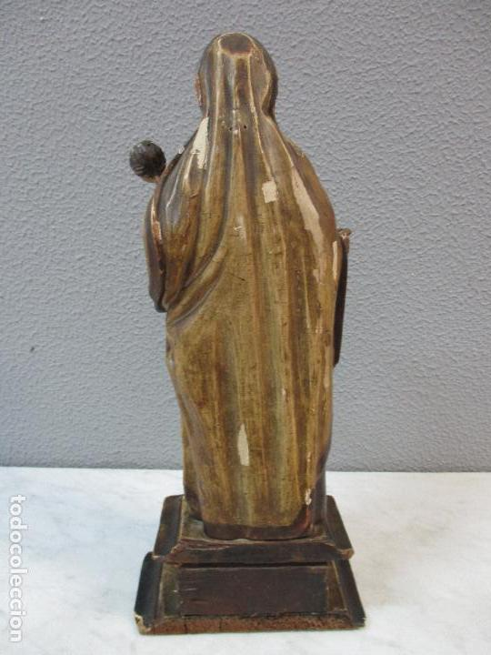 Arte: Antigua Virgen del Carmen - Barroca - Talla de Madera, Policromada y Dorada - 48 cm Altura -S. XVIII - Foto 23 - 66936970