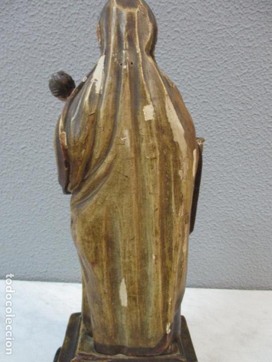 Arte: Antigua Virgen del Carmen - Barroca - Talla de Madera, Policromada y Dorada - 48 cm Altura -S. XVIII - Foto 25 - 66936970
