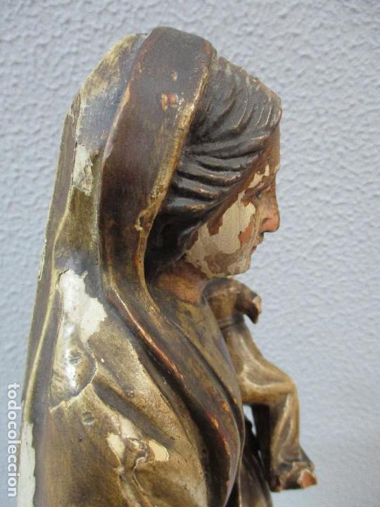 Arte: Antigua Virgen del Carmen - Barroca - Talla de Madera, Policromada y Dorada - 48 cm Altura -S. XVIII - Foto 31 - 66936970