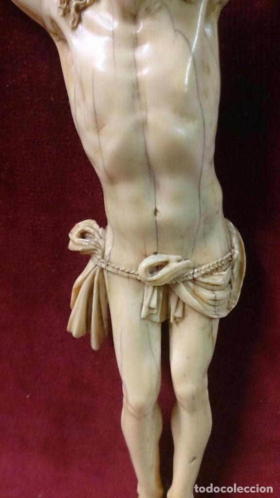 Arte: Cristo de marfil sobre terciopelo rojo, siglo XIX - Foto 4 - 67162397