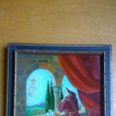 Arte: SAN ANTONIO DE PADUA, REVERSO DE CRISTAL PINTADO S.XIX.. Lote 67274909