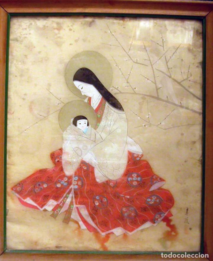 VIRGEN CON NIÑO - MATERNINDAD, CHINA. SIGLO XIX. DIBUJO SOBRE PAPEL DE ARROZ (Arte - Arte Religioso - Pintura Religiosa - Otros)