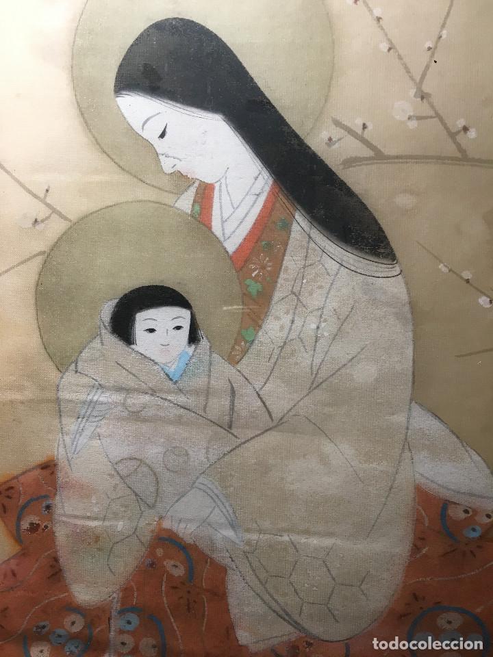 Arte: Virgen con niño - Maternindad, China. Siglo XIX. Dibujo sobre papel de arroz - Foto 2 - 67303029