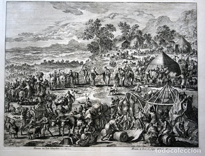 1729 -GRABADO BIBLIA - ABRAHAM Y LOT SE SEPARAN - LUYKEN - GRABADO - 58X52CM - COVENS ET MORTIER (Arte - Arte Religioso - Grabados)