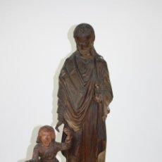 Arte: SAN JOSÉ CON EL NIÑO. ESCULTURA RELIGIOSA NEOGÓTICA. MADERA TALLADA. SIGLO XIX. Lote 40887448
