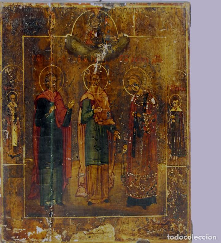 ICONO GRIEGO. SANTOS. ÓLEO SOBRE TABLA. SIGLO XIX. (Arte - Arte Religioso - Iconos)