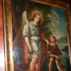 Arte: EL ARCANGEL RAFAEL Y TOBIAS. JOSE GALLEL BELTRAN, VALENCIA 1825-1887, BASTIDOR 55X40. Lote 67951101