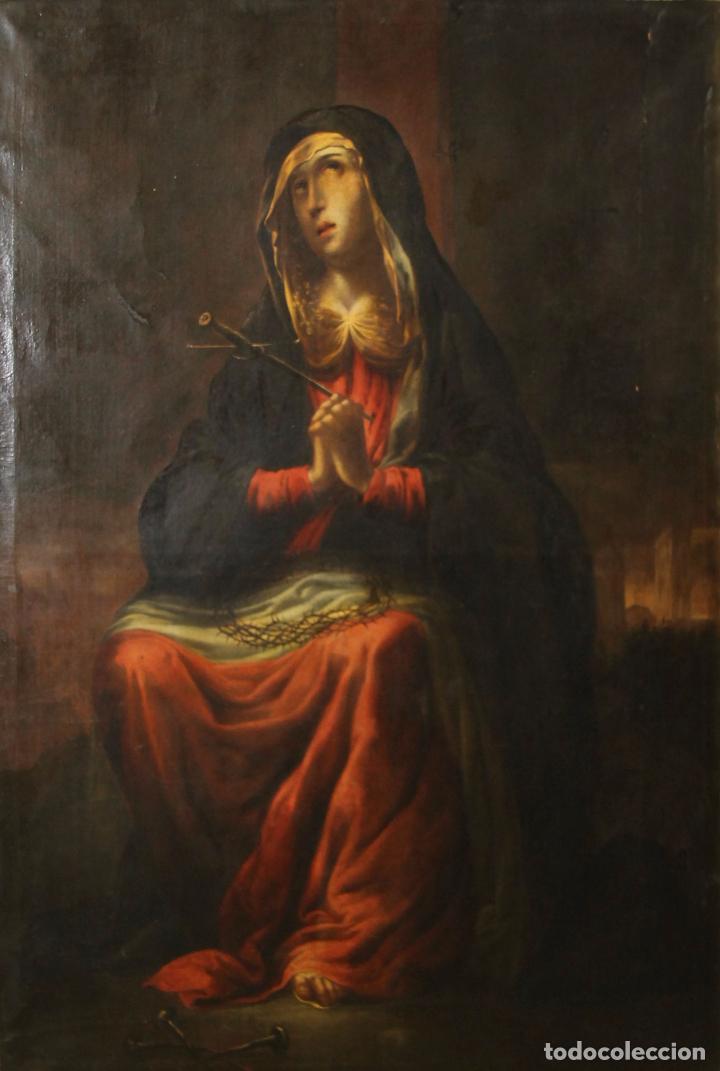 F3-028. VIRGEN DE LA DOLOROSA. ESCUELA ESPAÑOLA. OLEO SOBRE LIENZO. SIGLO XVII. (Arte - Arte Religioso - Pintura Religiosa - Oleo)