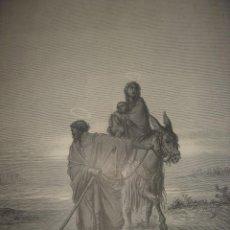 Arte: GRABADO RELIGIOSO, HUIDA A EGIPTO, DORÉ-QUARTLEY, ORIGINAL, BARCELONA,1884, GRAN TAMAÑO. Lote 68240485