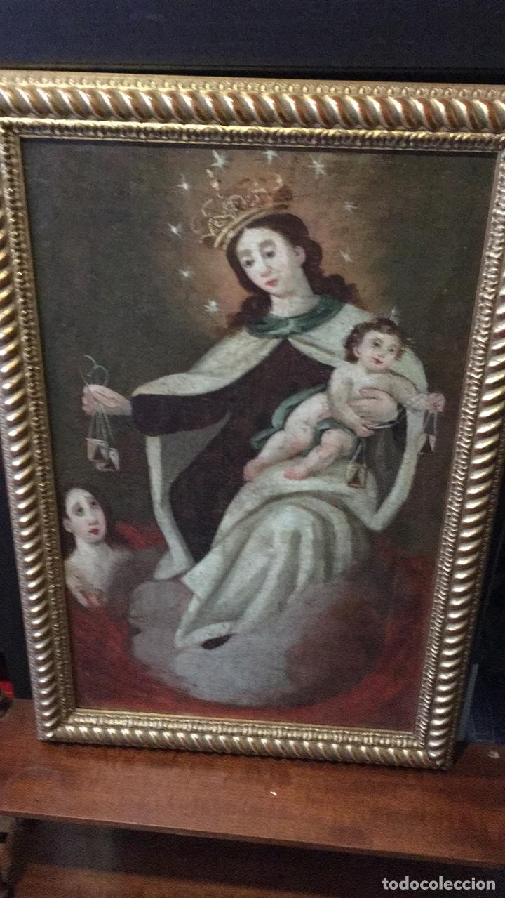 OLEO SOBRE LIENZO S.XVIII VIRGEN DEL CARMEN CON ESCAPULARIOS (Arte - Arte Religioso - Pintura Religiosa - Oleo)